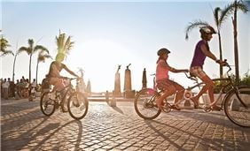 Cycling on the beach